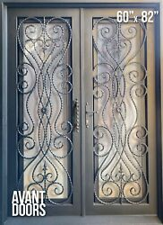 Wrought Iron Double Entry Door 61 X 81 Clear And Bronze Glass Modern