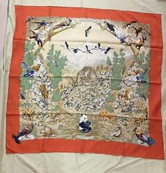 Hermes Vintage Curry 90 Scarf Sichuan Rare Items Free Shipping No.9199