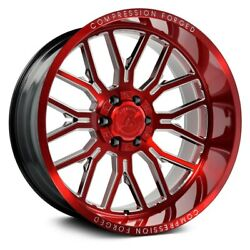 Axe Ax6.2 Compression Forged Wheels 22x12 -44 8x165.1 Red Rims Set Of 4