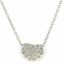 And Co. Pt950 Necklace Bean Diamond Pave Silver Women 's No.1965