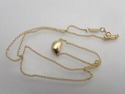 And Co. Peretti Au750 Yellow Gold Bean Pendant Necklace 40cm 9mm No.3832