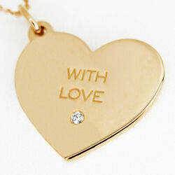 And Co. With Love Heart Diamond Tag Necklace Medium 750 K18 Rg No.4262