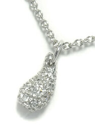 And Co. Finished Pt950 Elsa Peretti Teardrop Pavedia Necklace No.4083