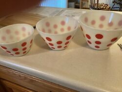 Vintage Fire King Ivory Milk Glass Red Polka Dots Mixing Bowls Set Of 3 1950's