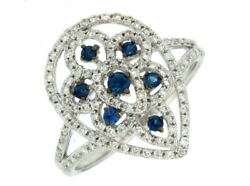 Estate .65ct Diamond And Aaa Sapphire 14kt White Gold Open Flower Pear Shape Ring