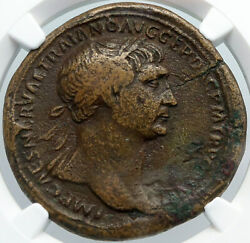 Trajan Authentic Ancient Sestertius Roman 117a Victory Crowning Coin Ngc I88695