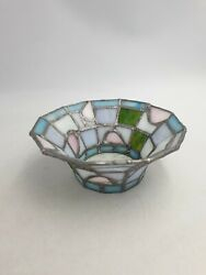 Art Nouveau Style Fused Leaded Stained Art Glass Decorative Bowl Pastel Coloured