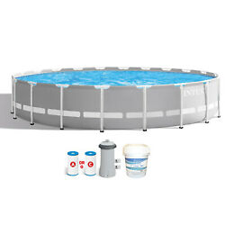 Intex 20ft X 52in Prism Frame Above Ground Swimming Pool W/ Pump And Chlorine Tabs