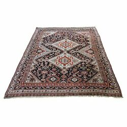 4and0392x6and039 Antique Qashqairaz Even Wear Handmade Pure Wool Fine Oriental Rug R46438