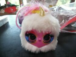 Pomsies Lumies Plush Color Changing White With Rainbow Hair Unicorn