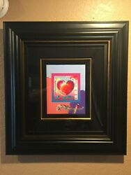 Peter Max Heart On Blends Mixed Meida With Acrylic Paint Signed