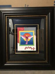 Peter Max And039angel With Sunand039 Original Mixed Media W/ Acrylic Paint Signed