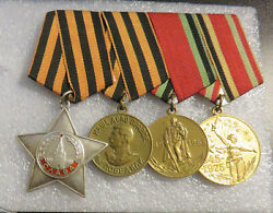 Soviet Russian Ussr Cccp Ww2 Group With Order Glory And Medals