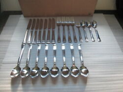 Cambridge Stainless China Jenna Mirror Knives Forks Spoons 23 Pc Flatware Set