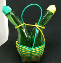 Unique Vintage Oil And Vinegar Curved Glass Bottles In Yellow And Green Italy