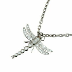 And Co. Price Down Dragonfly Diamond Women And039s Necklace Pt950 No.4325