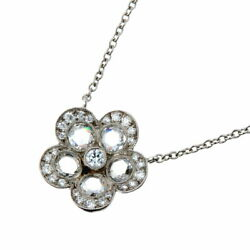 And Co. Price Down Garden Flower Diamond Women And039s Necklace Pt950 No.4326