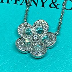 And Co. Garden Flower Diamond Necklace Platinum From Japan Fedex No.4616