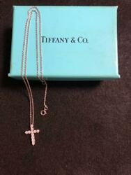 And Co. Necklace Cross Small Diamond From Japan Fedex No.4862