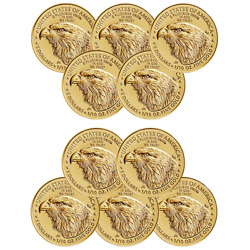 2021 1/10 Oz American Gold Eagle Coin - Type 2 - Bu - 5 | Lot Of 10
