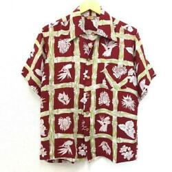 Vtg Kamehameha Hawaiian Shirt 50s Bamboo Pattern Size M Red Rare Pre-owned