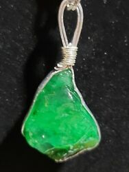 310 Ct Raw Rough Emerald Dangle Pendant W 925 Necklace Handcrafted 1 Of A Kind