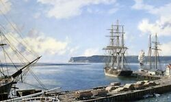 John Stobart Print - San Diego A View Of Point Loma From Santa Fe Wharf In 1888