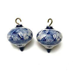Vintage Delft Holland Handpainted Windmill Bauble Christmas Ornaments Set Of 2