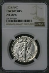 Us 1928 Silver Walking Liberty Half Dollar Ngc Unc Details Cleaned S506