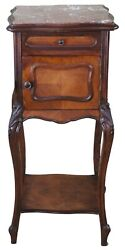 Antique Louis Xv French Provincial Walnut Marble Smoking Humidor Table Stand