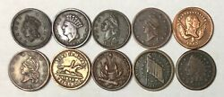 Lot Of 10 Civil War Tokens 1863 And 1864 - Unique Collectorand039s Variety Pack