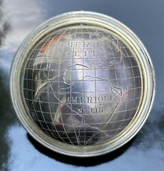 Antique French Hand Engraved Silver Miniature Pocket Terrestrial Globe