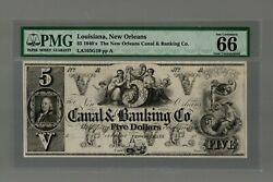 Pmg 66 Epq 1840and039s 5 The Canal And Banking Co. - New Orleans Louisiana Note