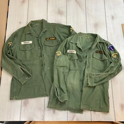 1960s Us Army Military Shirts Patches Od Green Sateen Military Uniforms