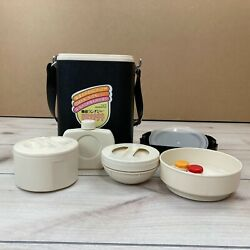Zojirushi Lpe-1800 Japanese Lunch Bento Box Black Vintage Stackable Thermos