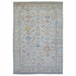 9and0399x14and0391 Gray Hand Knotted Angora Oushak 100 Wool Oriental Rug R68621