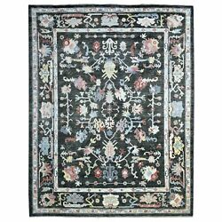 9and0391x11and0394 Angora Oushak Pure Wool Charcoal Black Hand Knotted Rug R68543