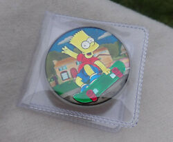 2020 The Simpsons Bart Enamel 1oz Silver Coin Tuvalu Lisa Marge David Hill