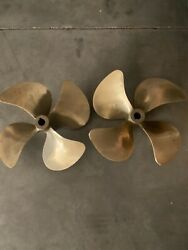 Pair Of 4 Blade Large Boat Props 21x24 1 3/4 Shaft