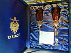 Faberge Set Of 2 Xenia Ruby Red Cut To Clear Crystal Champagne Flutes Signed