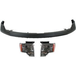 Bumper Cover Kit For 2009-2014 F-150 Front 3pc With Headlight