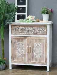 Weathered Wood Cabinet With 1 Drawer And 2 Doors Vintage Accent Storage Chest Us