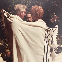 Vintage Color Photo Man Woman Wrapping In The Tallit Prayer Shawl Jewish Custom