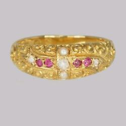 Victorian Ruby Diamond Pearl Ring Antique 18ct Gold Ring Hallmarked London 1882