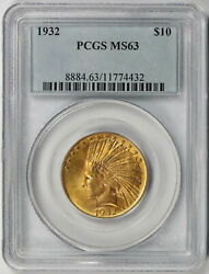 1932 Indian Head Eagle Gold 10 Ms 63 Pcgs