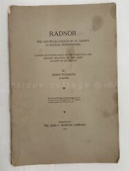 1915 Antique Radnor Pa History Old Welsh Church Of St. David's Legends Poetry
