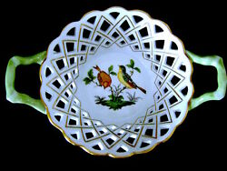 8 Open Weave Round Basket Handles 7411/ro Herend Hungary Rothschild Porcelain 7
