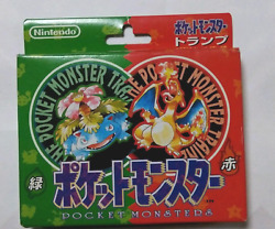 Pokemon Poker Card Red And Green Playing Cards 1996 Very Rare Charizard F Jp New