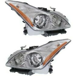 Hid Headlight Set For 2008-2010 Infiniti G37 Left And Right W/ Bulbs Pair