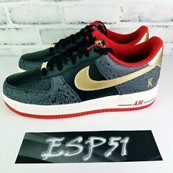 New Nike Air Force 1 And03907 Lx Shoes Spades Black/white/red/gold Dj5184-001 Sz 10